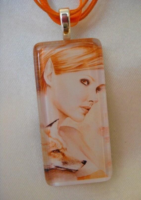 Kindreds- Red Fox - glass tile pendant - fairy fantasy gothic art by Deanna Bach
