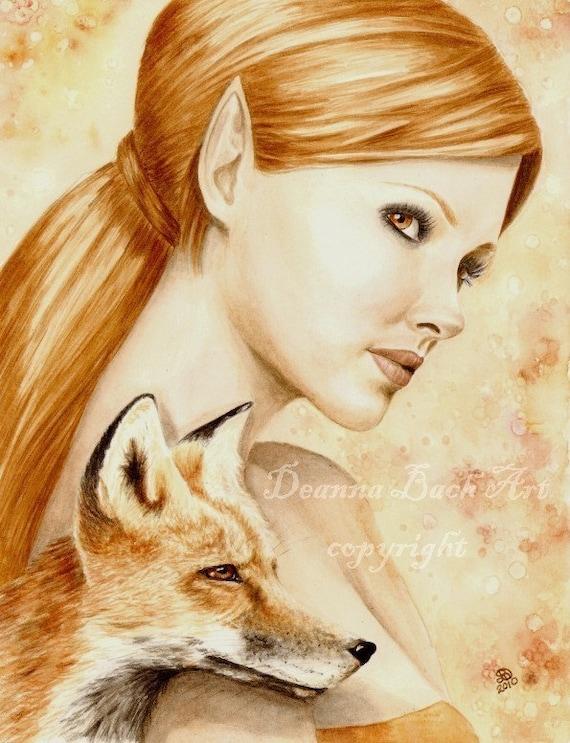Kindreds - Red Fox - fairy fantasy gothic art print by Deanna Bach