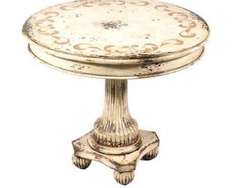 Round Antique White Table