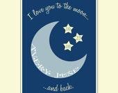 SALE Custom Printable Wall Art - 8x10 - I love you to the moon and back
