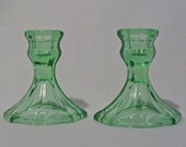 Pair Green Depression Glass Candleholders