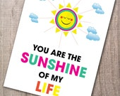 """Digital Download """"You are the sunshine of my Life"""" 8x10 inches (20.32 x 25.4 cm) - Digital Download - PRINTABLE Art - Print at home"""