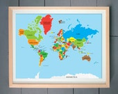 World Map ART PRINT (Yellow Green, Peppery, Java, Overjoy etc.) (various sizes available -  11x14 - 20x30 inches)