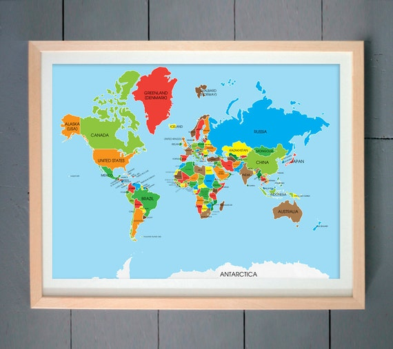 World Map | Gifts for people who travel | Wall Art | Dorm Decor | Home Decor | Apartment Decor | All the countries in the world | Travel Map