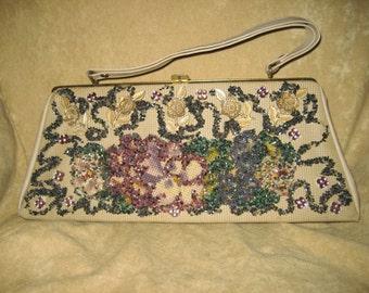 Veldore Purse Decorated Beaded Vintage Purse - Embellished - Floral 60s Vintage