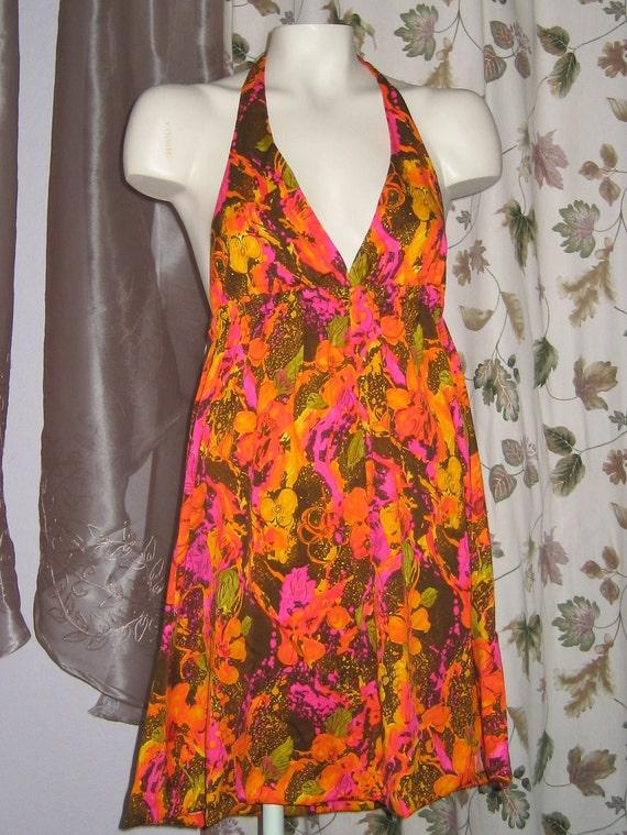Vintage 60s 70s Bright Floral Halter Dress