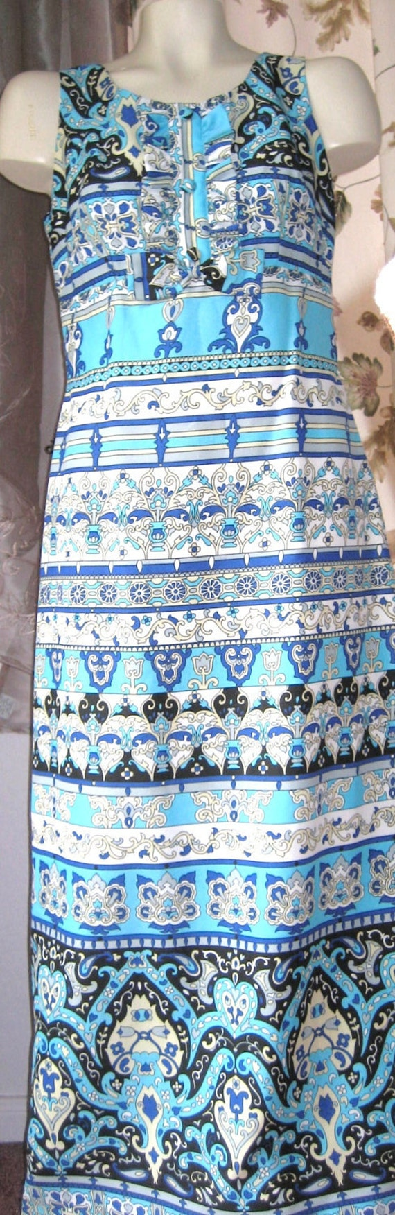 Sixties Vintage Bright Blue Print Long Dress - Reserved for Senga and Jess