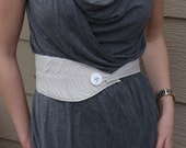High Waisted Feather Belt, Grey (Made to Order)
