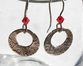 VALENTINE SALE Patterned silver disk earrings