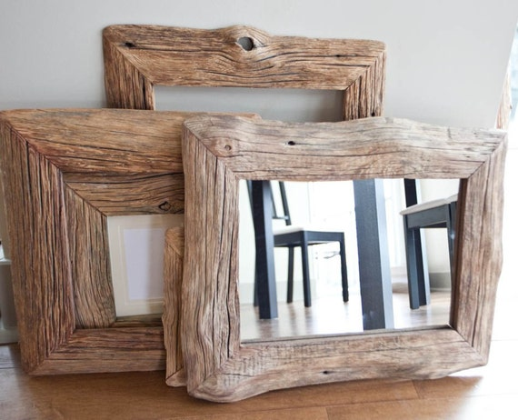 Mirror In Reclaimed Farm Wood Frame 10x14