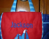 Personalized Embroidered Stephen Joseph Toddlers Nautical BOAT Vacation School Backpack Tote
