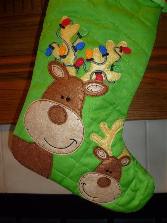 Personalized REINDEER Quilted Stephen Joseph Christmas Stocking