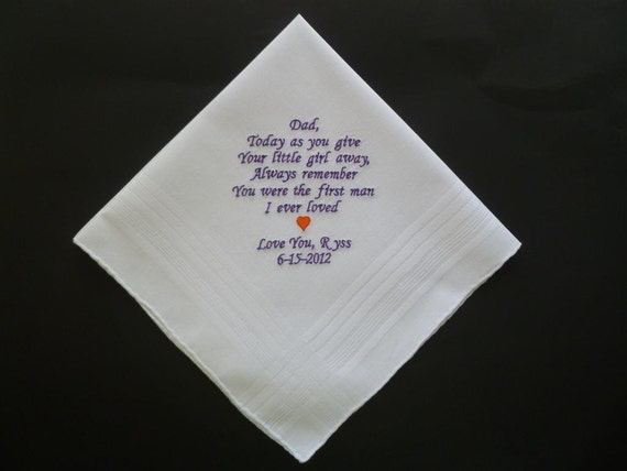 Wedding Father Dad Father in law Personalized Custom Embroidered Keepsake HANDKERCHIEF Hanky
