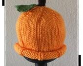 Pumpkin Baby Hat, Hand Knit, 0-6mths