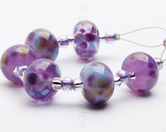 Lavender Mix - Handmade Lampwork Glass Beads by Sarah Downton