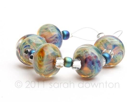 Faux Boro Frit Swirlers - Handmade Lampwork Glass Beads by Sarah Downton