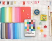 Solid Color Masking Stickers tin set