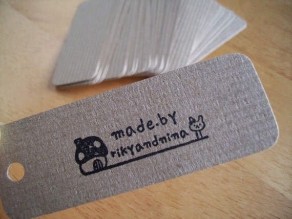 50 ribbed brown mini card tags B