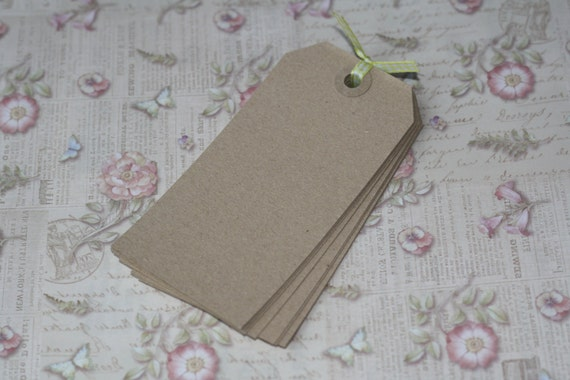 Extra Large Old Fashioned rustic KRAFT Brown Reinforced DIY LUGGAGE blank tag labels