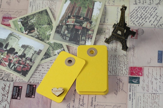 Canary YELLOW medium reinforced blank craft tags