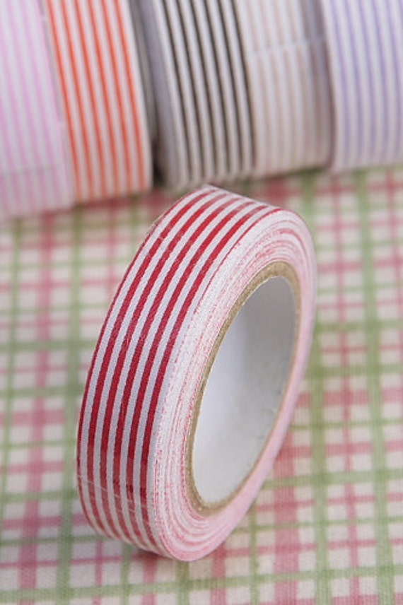 RED Candy Striped Deco fabric tape self adhesive