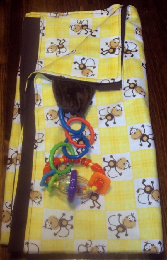 yellow monkey big floor blanket for baby or