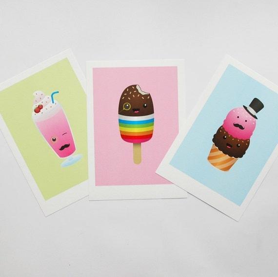 Kitchen Decor, Kitchen Art, Lollipop Ice Cream Milkshake Children's Decor, Kids Art, Nursery prints, Baby Nursery print A4