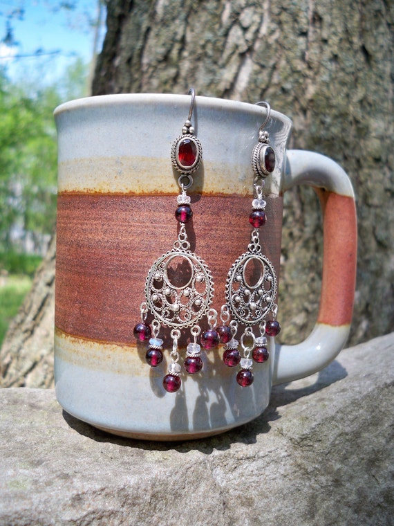 Garnet Goddess - Spectacular Bright Stone and Chandelier in Sterling Silver