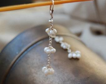 tiered freshwater pearl earrings