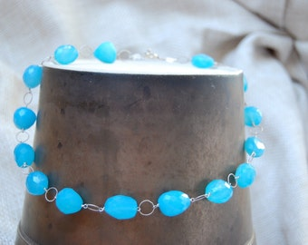 blue chalcedony bam bam necklace