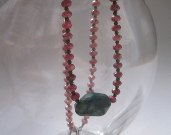 pink and teal multi-stone beaded necklace