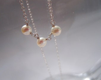 simple sterling silver button pearl necklace