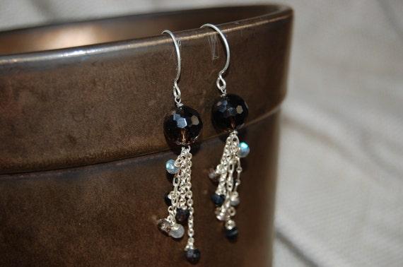 handmade black fringe party earrings
