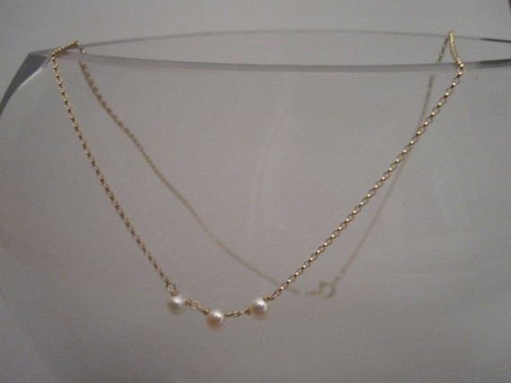 simple gold filled button pearl necklace