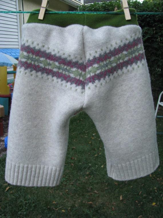 Wool longies/diaper cover/medium/large/fair isle