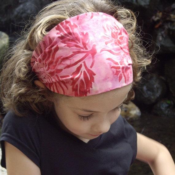 Headband - Batik Pink Flowers Hair Band Wide Cotton - LAST ONE