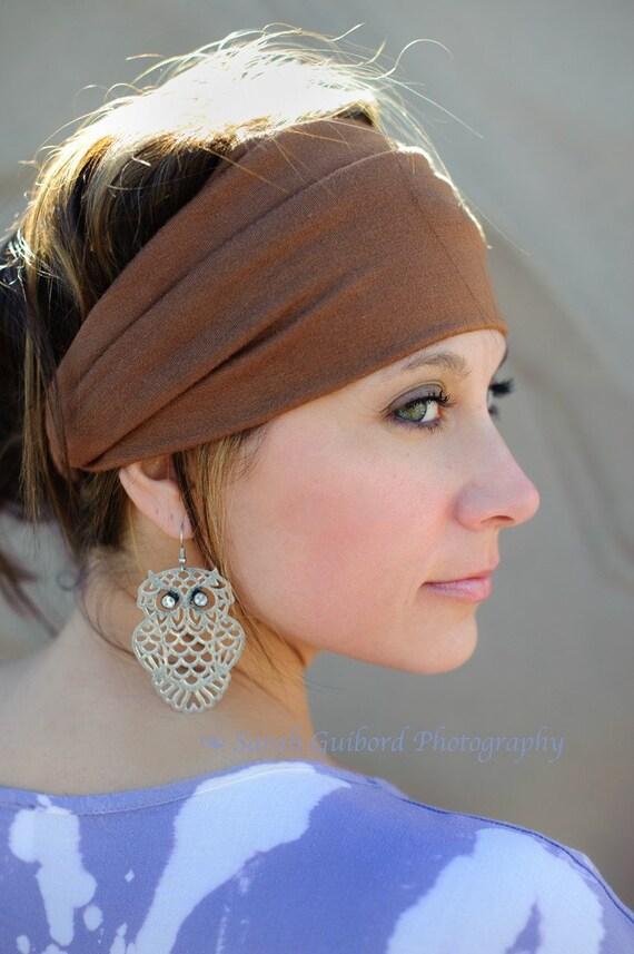 Knit Headband - Brown Neutral Hairband, Yoga Bohemian