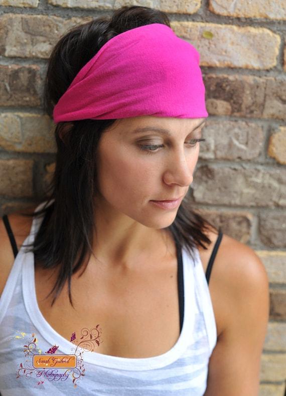 Yoga Hairband, Bright Pink Yoga Headwrap, Yoga Headscarf