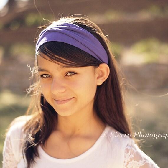 Headscarf Purple Knit Stretch Headscarves Head Scarf Head Wrap Yoga Solid (Item 1009)