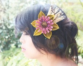 natural flower hair comb, cherry blossom comb