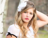 vintage white bridal flower, flower bridal headpiece, bridal flower headband- Last headband