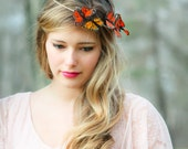 Orange and yellow Monarch Butterfly hair crown, butterfly hair crown