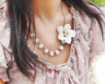 bridal party necklace, ivory cherry blossom flower necklace 'Trinity'