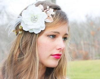 bridal flower hair crown, woodland wedding