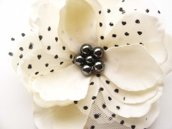 flower hair clip, magnolia pin, wedding hair accesories, bridesmaid hair clip, polka dot  Magnolia