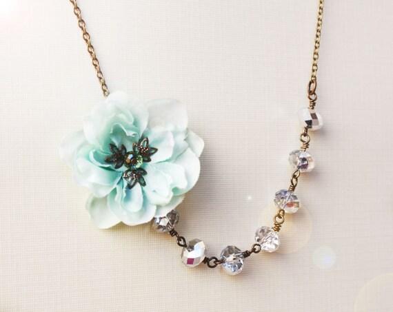 sea foam cherry blossom necklace