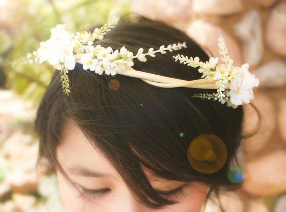 natural vine crown, natural vine wedding, woodland hair piece, flower bridal crown, natural vine crown, white bridal crown