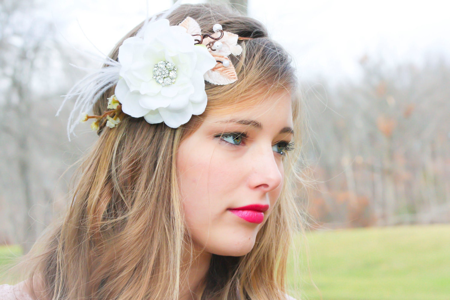 Flowers For Hair Wedding Australia : Bridal flower hair crown woodland wedding