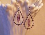 Amethyst teardrop earrings, wire wrapped, oval hoop earrings, dangle earrings, drop earring, purple varigated, dagger gems, unique