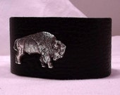 Leather cuff bracelet with buffalo